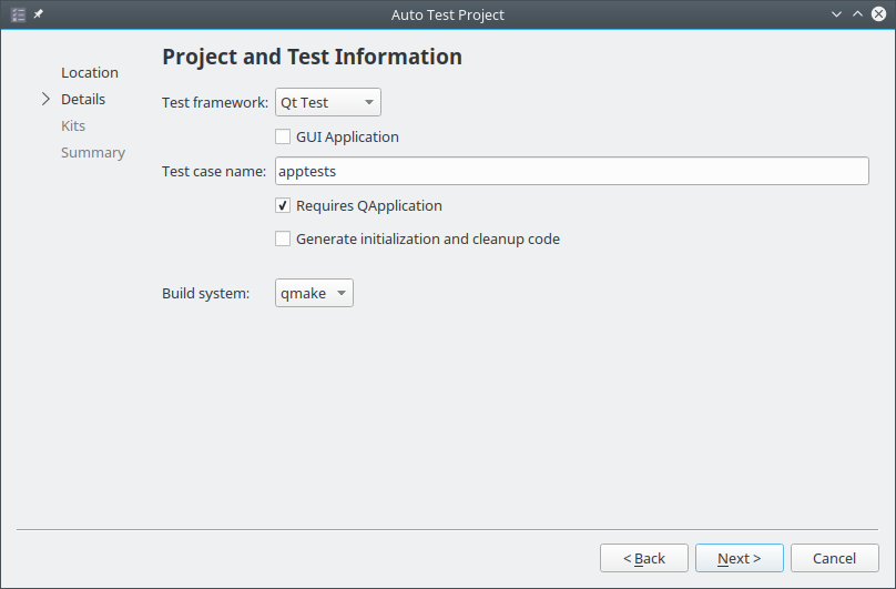 Project and Test Information Wizard Settings