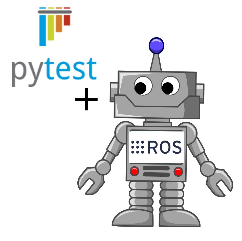 A robot, ROS logo and pytest logo