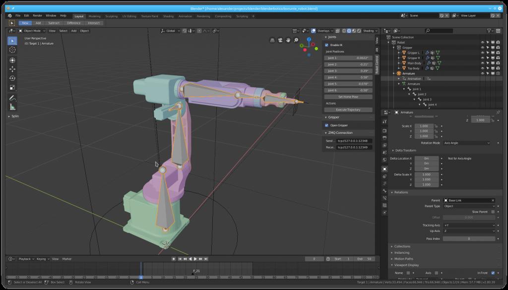 Robot armature in Blender